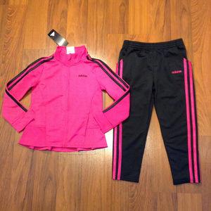 adidas 2pc Girls Tracksuit Jacket Pants Size 5 New